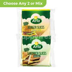Arla Original Sandwiches Slices( 10 Pieces) 200g or  Arla Burger Slices Cheddar Taste (10 Pieces)200g Choose Any 2 Variants or Mix