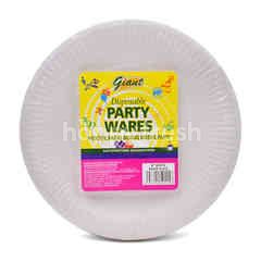 "Giant Disposable Party Wares 8"" White Paper Plate"