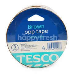 Tesco Brown Opp Tape 48mm X 36m (3 Rolls)