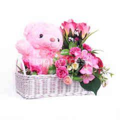 Citra Florist Artificial Basket Pink Fleur Teddy
