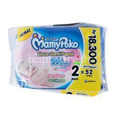 MamyPoko Tissue Ganti Popok Lembut di Kulit, Non Alkohol, Non Fragrance 99% Air Murni (2 x 52 lembar)