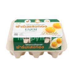 ฟาร์มแสงทอง ไข่ไก่สด ไข่แฟด 6 ฟอง