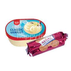 Wall's Wall's Es Krim Extra Creamy Rasa Vanila 700ml dan Biskuit Regal Marie 250g