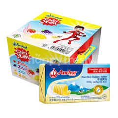 Anchor New Zealand Pure Unsalted Butter 227g 1 pcs ,Fearnleaf Calci Yum Assorted Flavour Cultured Milk Food 60g 16 pcs