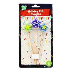 Party Planet Birthday Pick Candles (3 Pieces)
