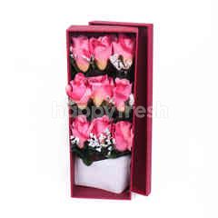 Citra Florist Artificial Flowerbox Pink Roses Rectangle Maroon