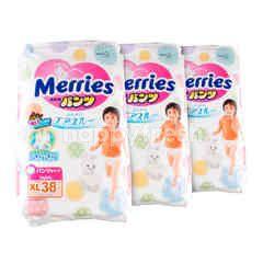 เมอร์รี่ส์ ผ้าอ้อมเด็กแบบกางเกง XL 38 ชิ้น จำนวน 3 แพ็ค