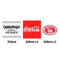 สินค้าขายยกเซ็ต กัปตัน มอร์แกน โกลด์ แบล็ค รัม & โคคา-โคลา โค้ก น้ำอัดลมกระป๋อง 4 กระป๋อง & สิงห์ น้ำโซดา 2 กระป๋อง