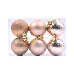 Rose Gold Christmas Tree Baubles (6 Pieces)
