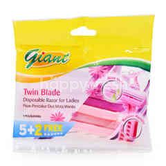 Giant Twin Blade Disposable Razor For Ladies (7 Pieces)