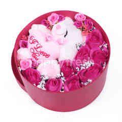 Citra Florist Artificial Flowerbox Sleeping Round Maroon