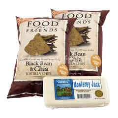 Food For Friends Black Bean & Chia Tortilla Chips and California Premium Cheese Block