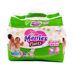 Merries Good Skin Baby Pants Diapers Size L (30 pieces)