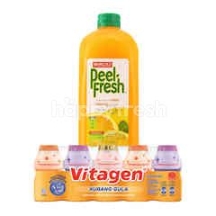 Vitagen Assorted Cultured Milk Drink 125ml, and Marigold Peel Fresh Orange Juice Drink 2L