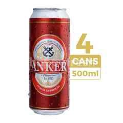 Anker Bir Pilsener 500ml (Kaleng) 4-Pack