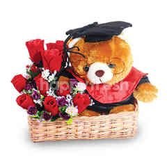 Citra Florist Artificial Graduation Basket Fleur Teddy