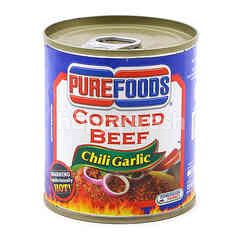 Pure Food Canned Chili And Garlic Corned Beef