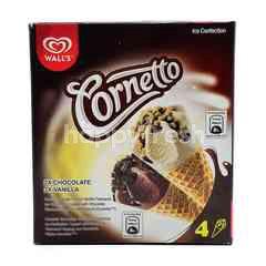 Wall's Corneto Chocolate And Vanilla Flavoured Mini Ice Cream (4Sticks)