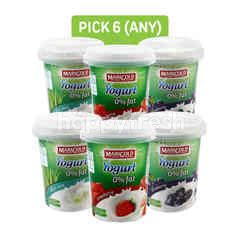 Marigold 0% Fat Strawberry Yogurt, Blueberry Fruit Flavour Yogurt and Yogurt 0% Fat Aloe Vera (Pick Any 6)