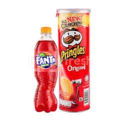 Fanta Rasa Strawberry 390ml dan Pringles Keripik Kentang Original