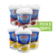 Marigold Yogurt Low Fat Strawberry, Yogurt Low Fat - Apricot and Yogurt Low Fat - Peach (Pick Any 6)