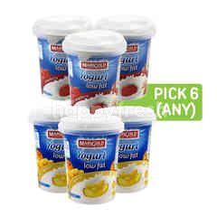 Marigold Yogurt Low Fat Strawberry, Yogurt Low Fat - Apricot and Yogurt Low Fat - Peach (Pick Any 6)