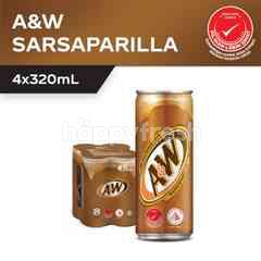 A&W Sarsaparilla Flavoured Carbonated Soft Drink 4x320ml
