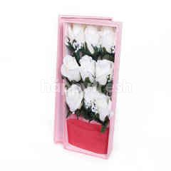 Citra Florist Artificial Flowerbox White Roses Rectangle Pink