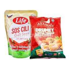 QSR Ayamas Breaded Chicken Drummets & Mid Wings 850g & LIFE Chilli Sauce 1kg