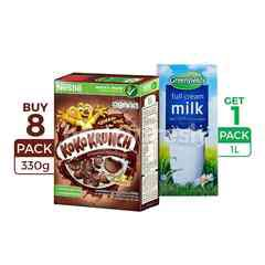Koko Krunch Chocolate Wheat Cereal 330g & Greenfields Full Cream UHT Milk 1L package