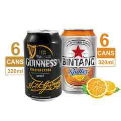 Bundles Guinness 6 Pack Foreign Extra Stout Beer 320ml & 6 Pack Bintang Radler Orange Pilsener Canned Beer 320ml