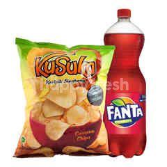 Fanta Rasa Strawberry 1.5L dan Kusuka Keripik Kentang Rasa Original