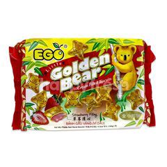 EGO Little Golden Bear Cream Filled Biscuits Strawberry Filling