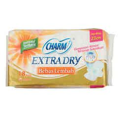 Charm Extra Dry Day Wing Sanitary Pads 23cm (18 pads)