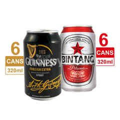 Bundles Guinness 6 Pack Foreign Extra Stout Beer 320ml & 6 Pack Bintang Pilsener Canned Beer 320ml