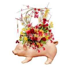 Emme Florist Lunar Year Flower Bouquet with Cute Pig Vas