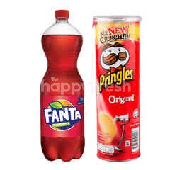 Fanta Rasa Strawberry 1.5L dan Pringles Keripik Kentang Original