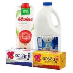 Bundles Chokchai Farm Pasteurized Whole Milk 2 L & Malee Apple Juice 100% 1 L & Orchid Butter Blends Unsalted 227 g & Orchid Butter Blends Salted 227 g