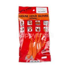 ทีเจ ถุงมือยางสีส้ม