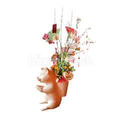 Emme Florist Lunar Year Table Orange Tree with Pig Standing Vas