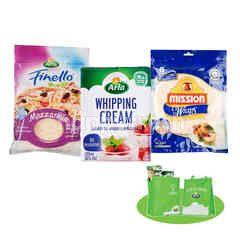 Arla Assorted Bundle 1Pcs Mozzarella Cheese Shredded 200g, 1 Pcs UHT Dairy Whipping Cream 200ml, 1 Pcs Mission Original Wraps 360g