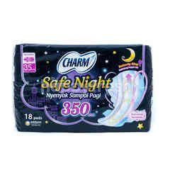 Charm Safe Night Pembalut dengan Sayap 35cm