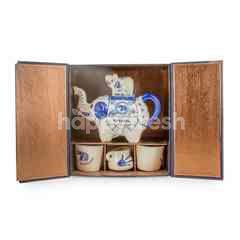 Blue Elephant Tea Pot With Tea Cups Set