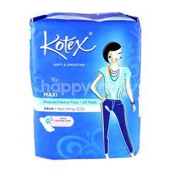 Kotex Soft & Smooth Maxi 24cm Regular/ Heavy Flow Non Wing