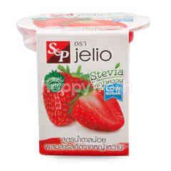 เอส แอนด์ พี เจลิโอ เยลลี่คาราจีแนน ผสมเนื้อสตรอว์เบอร์รีและน้ำสตอว์เบอร์รี สูตรน้ำตาลน้อย