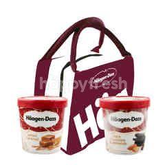 Haagen-Dazs Salted Caramel Ice Cream(1 Pint) 473g and Dark Chocolate & Almonds Ice Cream(1 Pint) 442g