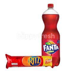 Fanta Rasa Strawberry 1.5L dan Ritz Biskuit Sandwich Rasa Keju