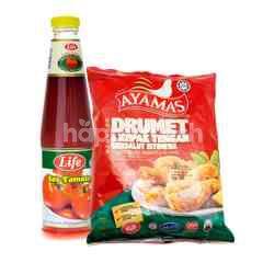 QSR Ayamas Breaded Chicken Drummets & Mid Wings 850g & LIFE Tomato Sauce 685g