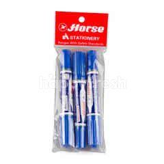 ตราม้า ปากกามาร์คเกอร์ 2 หัว สีน้ำเงิน 3 ด้าม