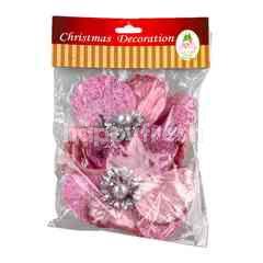 ของตกแต่งเทศกาลปีใหม่ ดอกไม้ สีชมพู